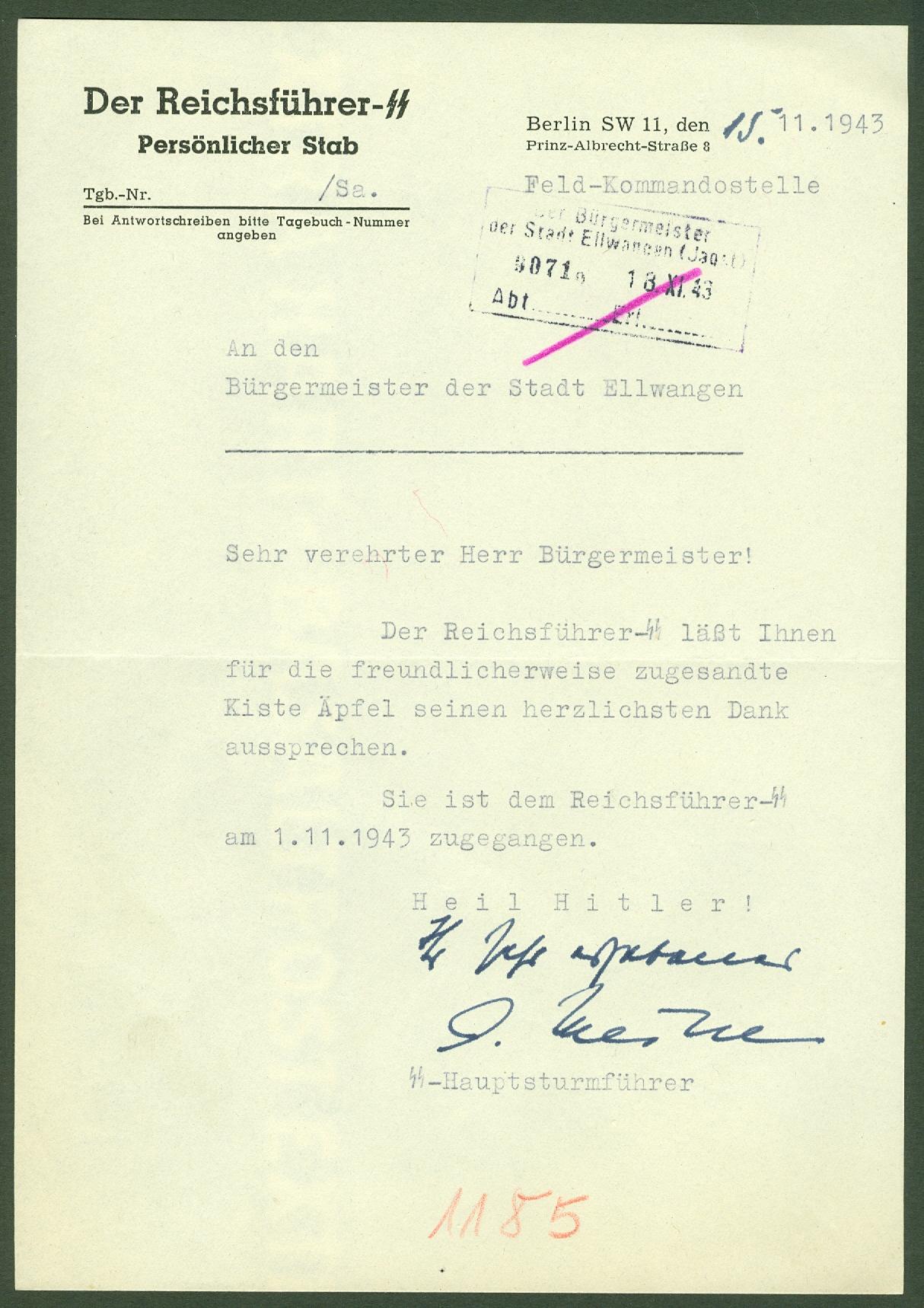 Dankschreiben Himmler 1943-11-15